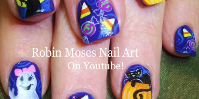 Halloween Candy Corn Nail Art with Witches ghosts and Cats! Nails Design  Tutorial! - Halloween Candy Corn Nail Art With Witches Ghosts And Cats! Nails