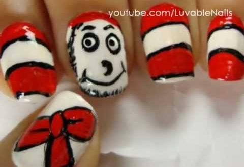 Dr Seuss Nail Art The Cat In The Hat Nail Art By Luvablenails